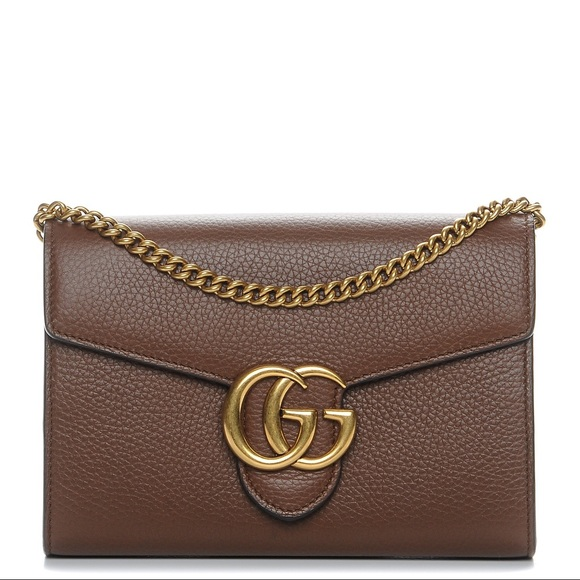 4be9786443b Gucci Handbags - GUCCI Calfskin GG Marmont Chain Wallet Nut Brown